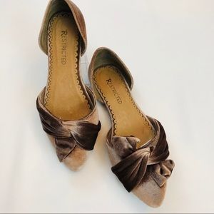 Restricted Velvet Taupe Isabella Bow Flats